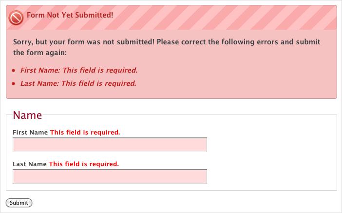 feld validierung html error message